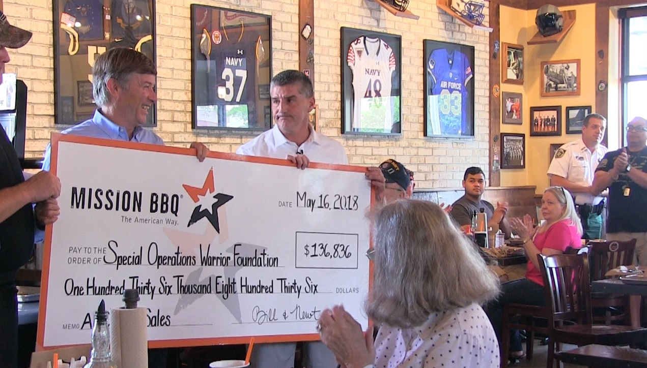 MISSION BBQ donates over $130,000 to Special Operations Warrior Foundation